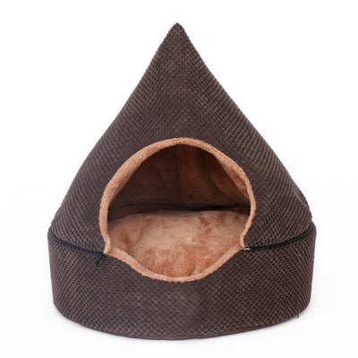 Dog Cat Sleeping Bed Tent Design With Washable Cushion Brown - Pets.al