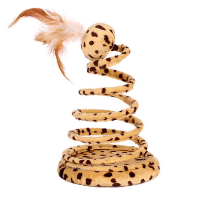 Interactive Cat Toy Spring Snake Design With Feather On Top - Pets.al