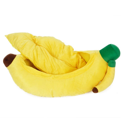 Soft Plush Pet Sleeping Bag Banana Shaped With Removable Cushion - Pets.al