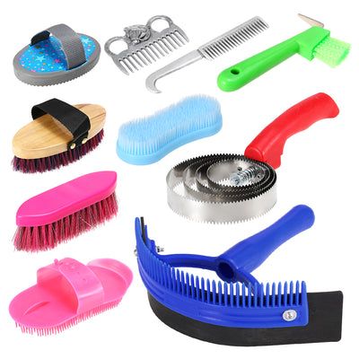 10-IN-1 Horse Grooming Tool Set Cleaning Kit Mane Tail Comb Massage Curry Brush Sweat Scraper Hoof Pick Curry Comb Scrubber - Pets.al