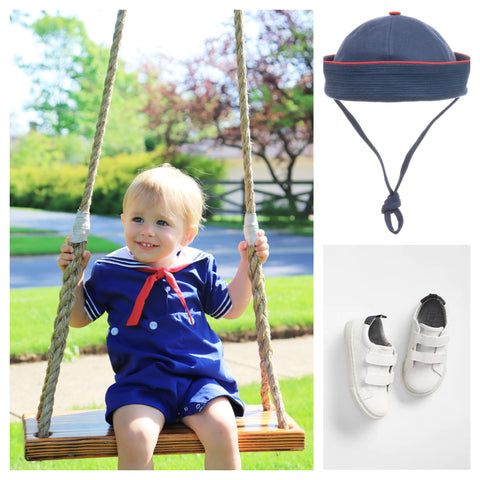 collage boys nautical navy sailor outfit with navy hat and white sneakers