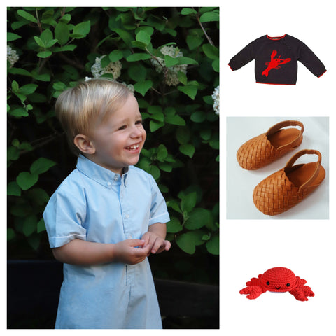 collage boys blue buttondown playsuit with lobster navy sweater and leather woven sandals and red crab rattle crochet toy