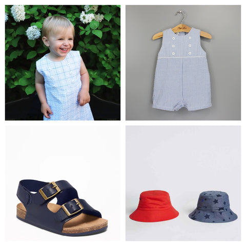 boys collage blue stripe and plaid playsuit with navy sandals and red and blue star bucket hats