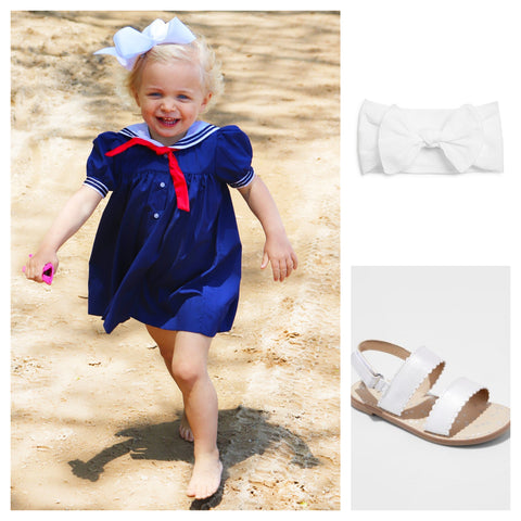 collage of navy nautical girls sailor dress with white headband bow and scalloped white Target sandals