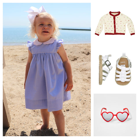 collage girls blue dress with collar and polkadot sweater and red Target heart sunglasses and white strappy sandals