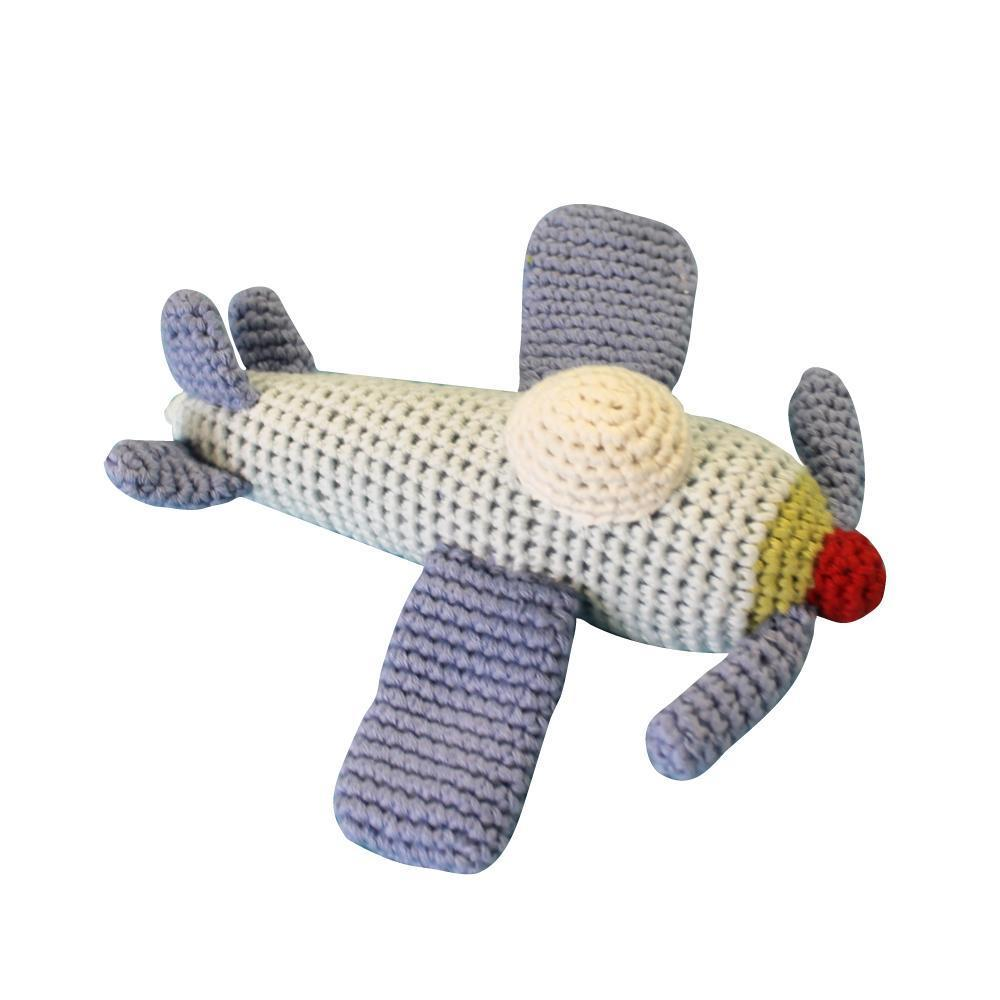 "Airplane Hand Crochet Rattle toy zubels 6"" Rattle"