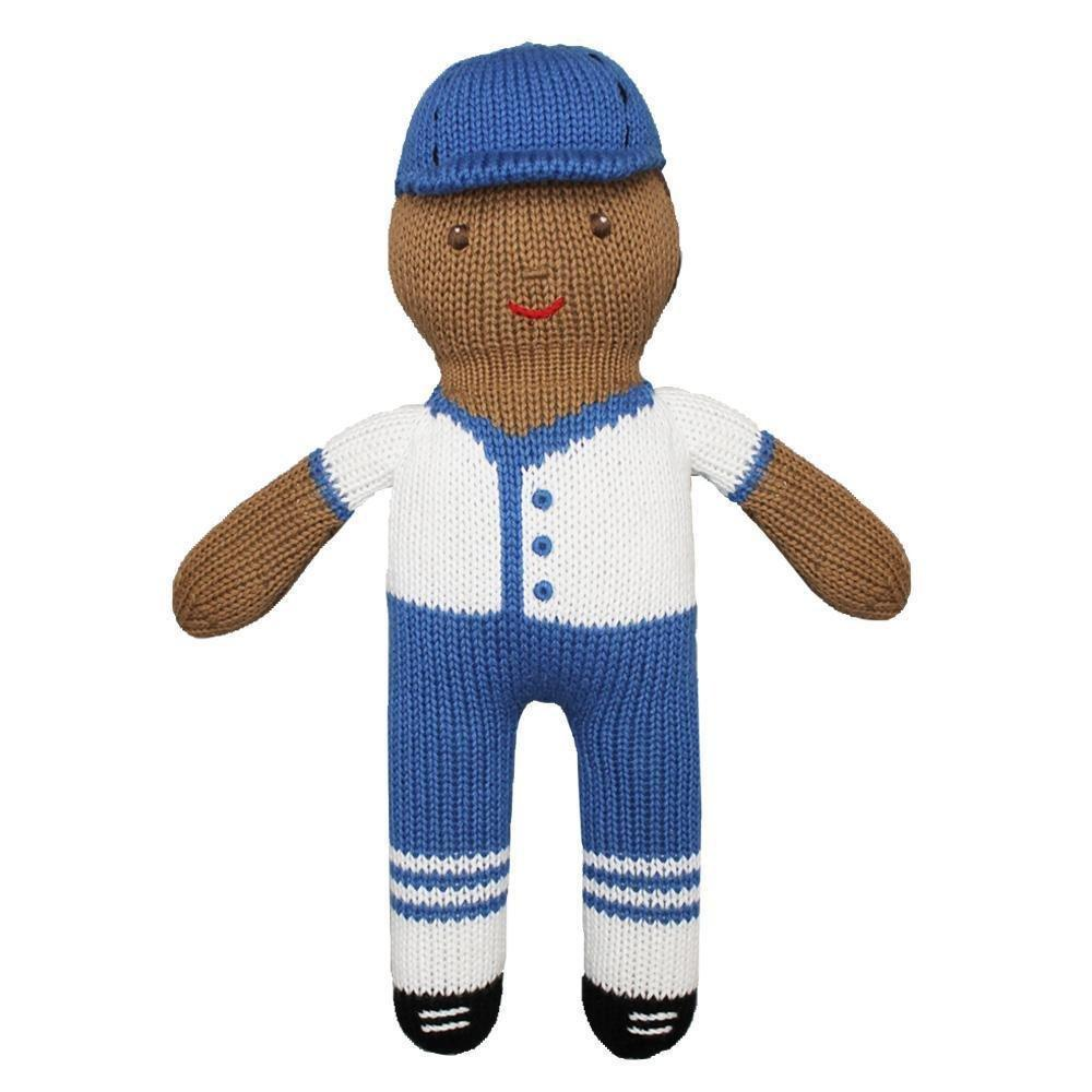 Baseball Player Knit Doll in Royal Blue & White - Petit Ami & Zubels    All Baby!