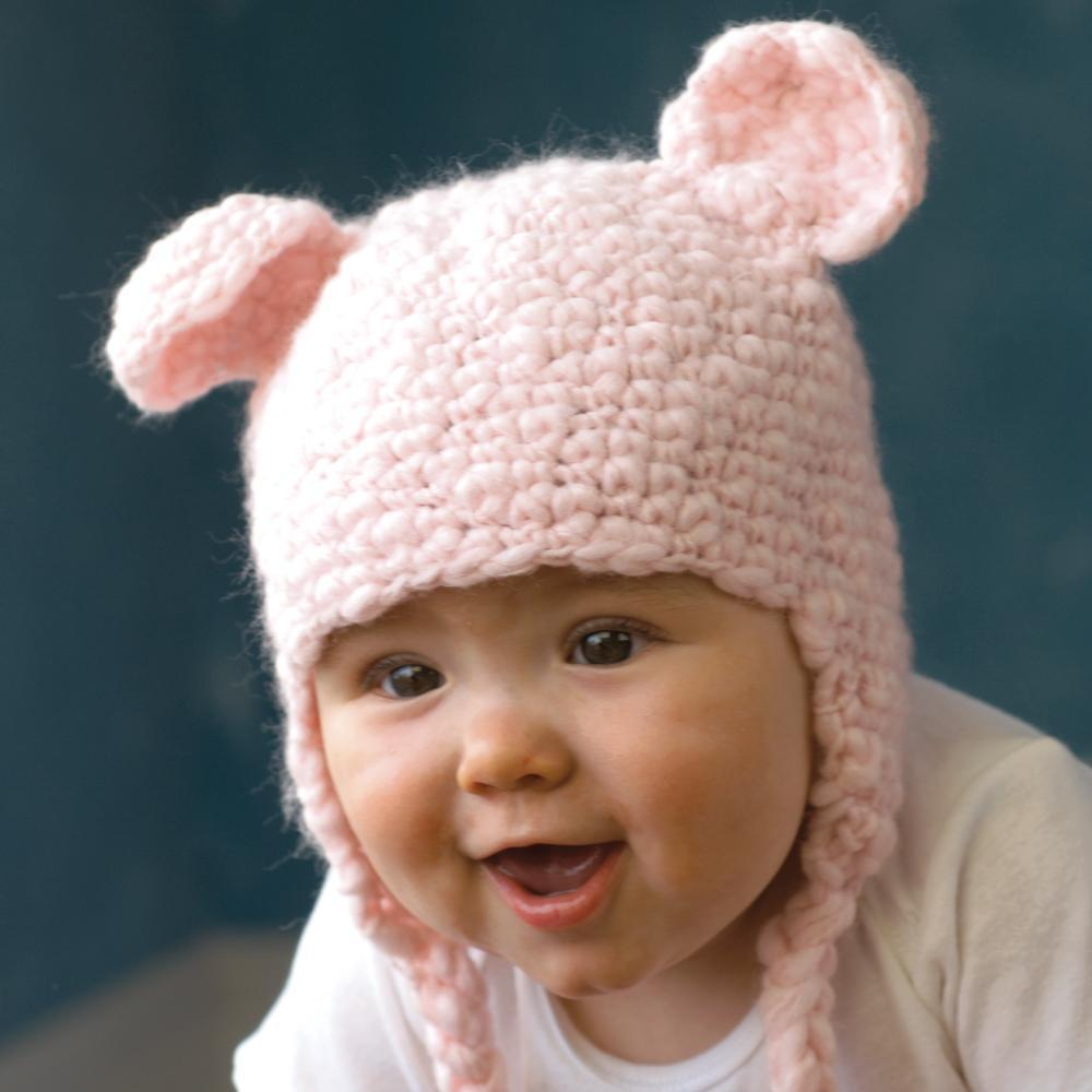 Bear Knit Hat - Pink - Petit Ami & Zubels    All Baby!