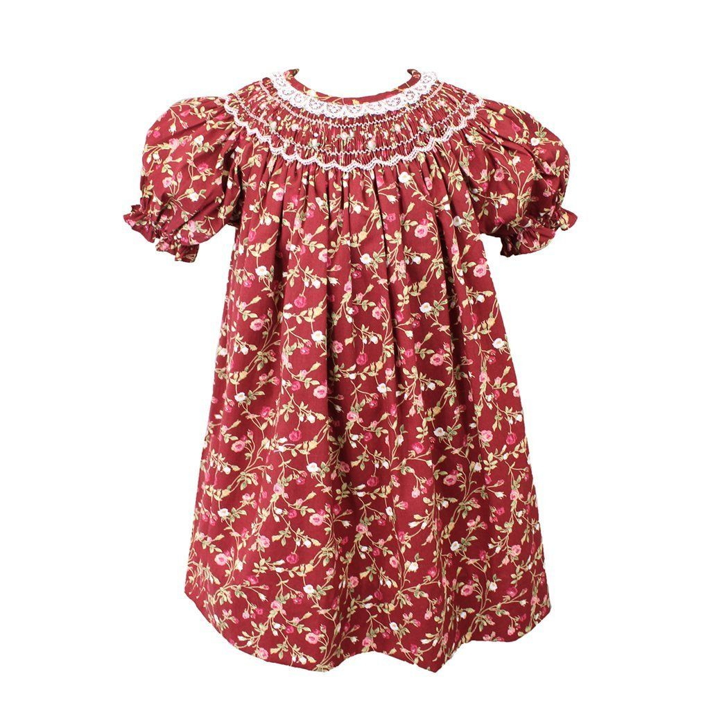 Burgundy Floral Raglan Smocked Dress - Petit Ami & Zubels    All Baby!