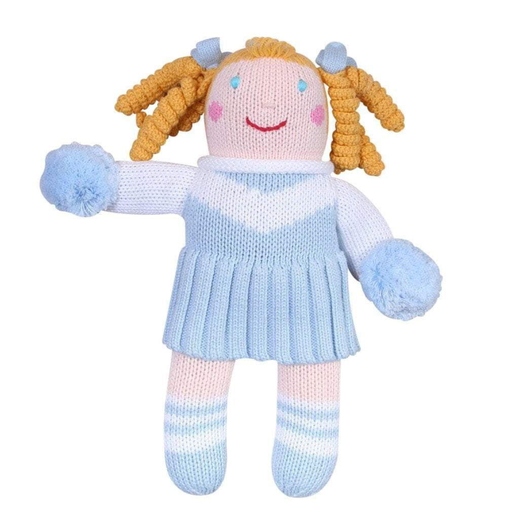 Cheerleader Knit Doll - Light Blue & White - Petit Ami & Zubels    All Baby!