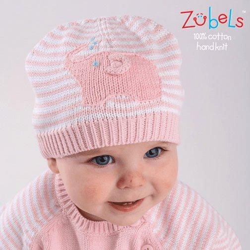 Elephant Knit Beanie Hat in Pink hat zubels 0/6M
