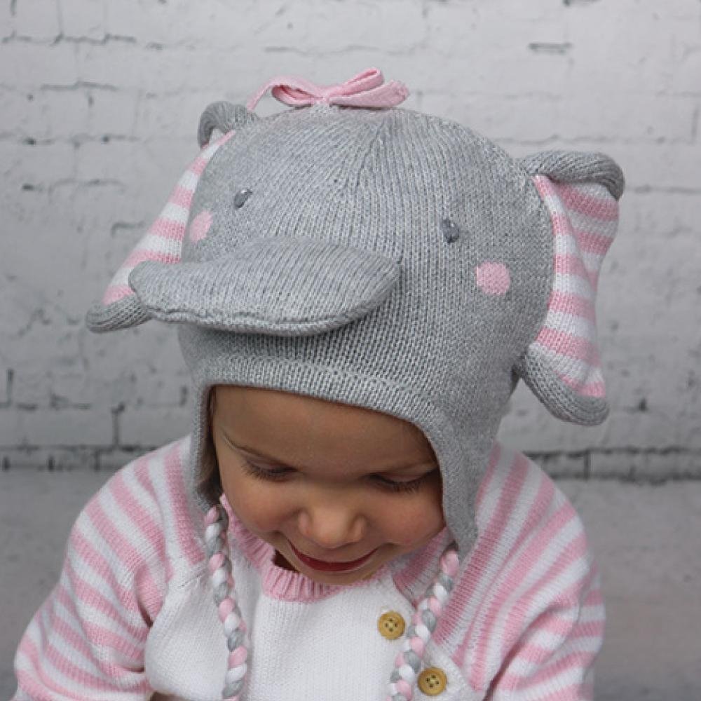 Elephant Cotton Knit Hat in Pink - Petit Ami & Zubels    All Baby!