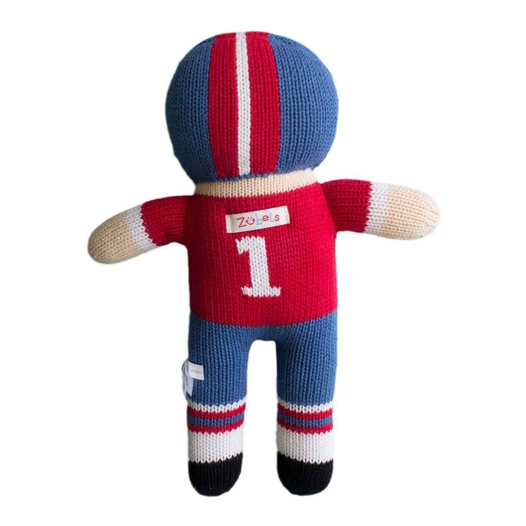 Football Player Knit Doll - Royal Blue & Red toy zubels