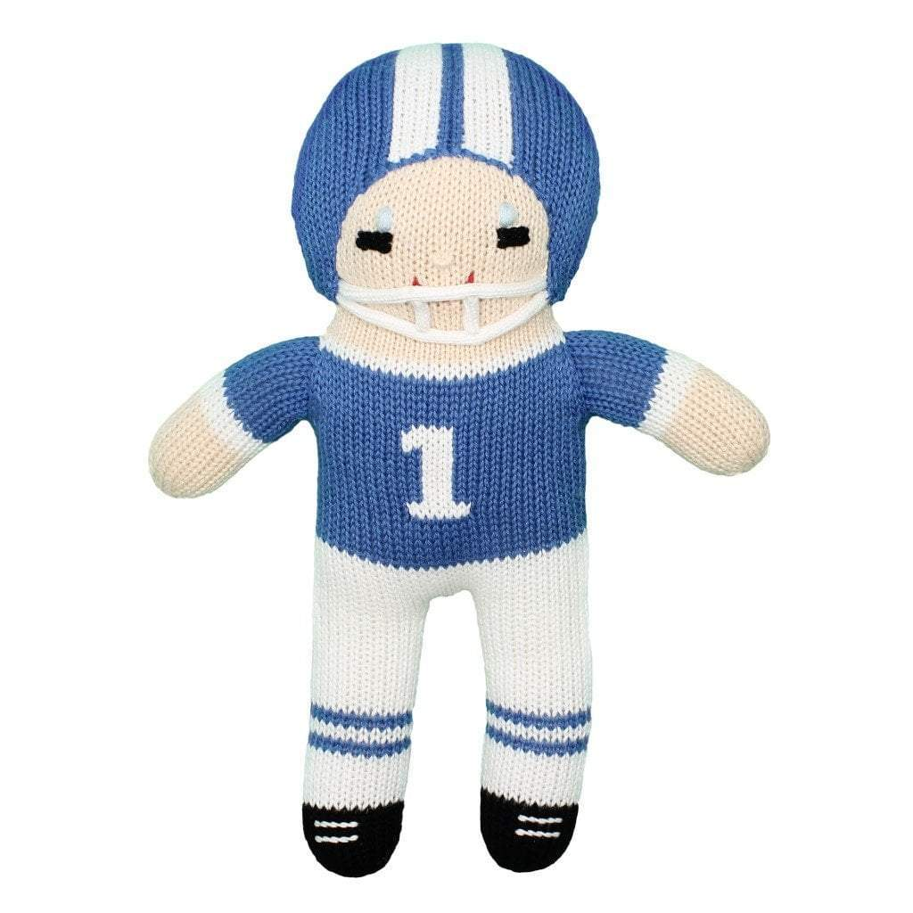 "Football Player Knit Doll - Royal Blue & White toy zubels 7"" Rattle"