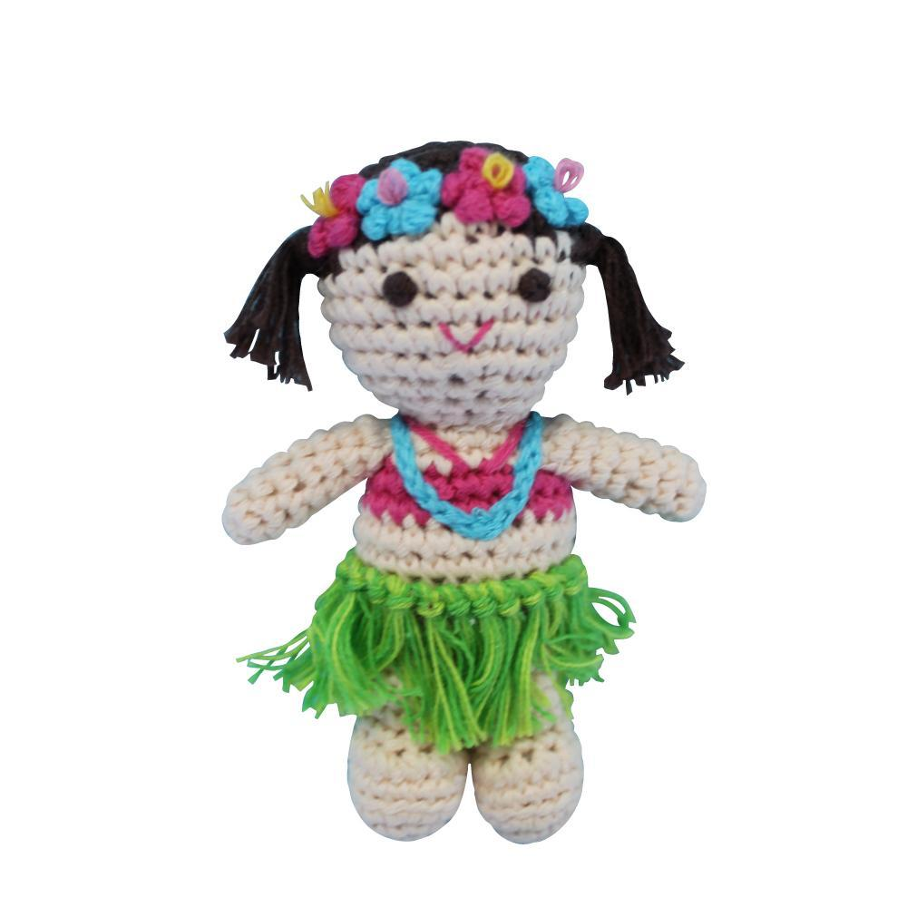 handmade hula girl crochet rattle