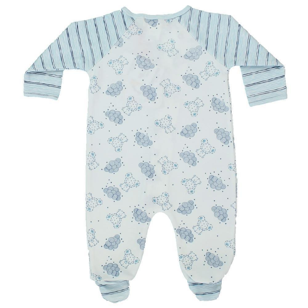 Knit Bear Print Footsie with Matching Blanket in Blue play wear zubels