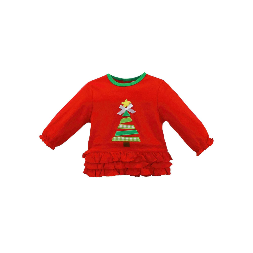 Knit Christmas Tree Set with Ruffle - Petit Ami & Zubels    All Baby!