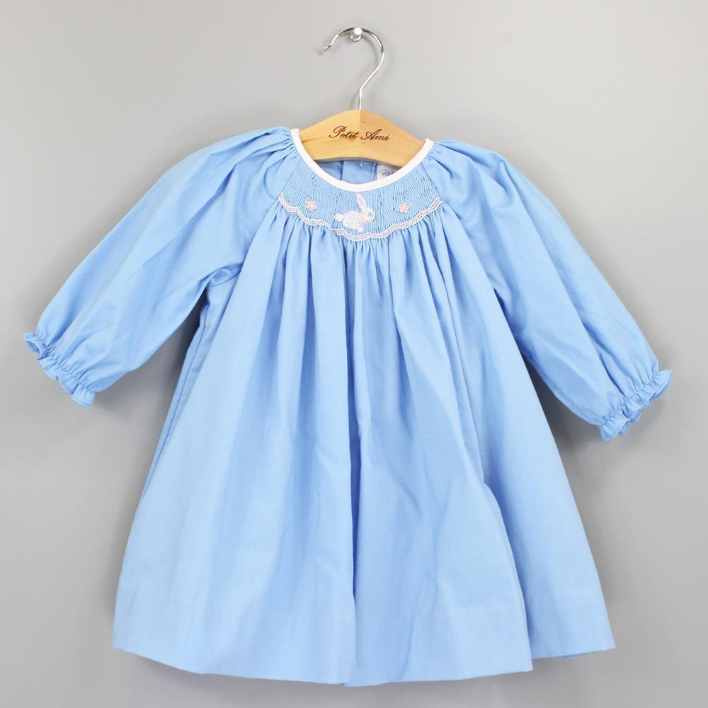 Blue Long Sleeve Dress with Bunny Smocking - Petit Ami and Zubels baby toys and gifts