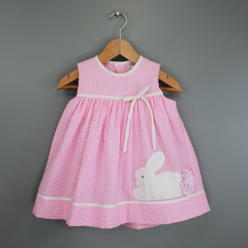 Seersucker Dress with Bunny Applique - Petit Ami and Zubels baby toys and gifts toddler child