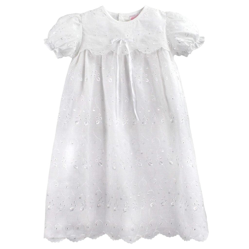 Eyelet Lace Christening Gown dress petit ami