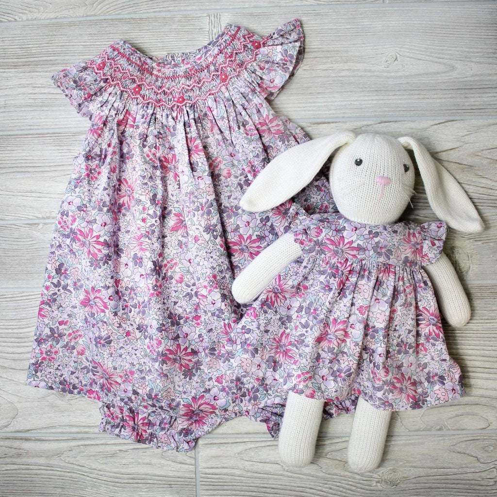 Smocked Dress Angel Wing Dress with Matching Bunny - Petit Ami and Zubels baby toys and gifts toddler child