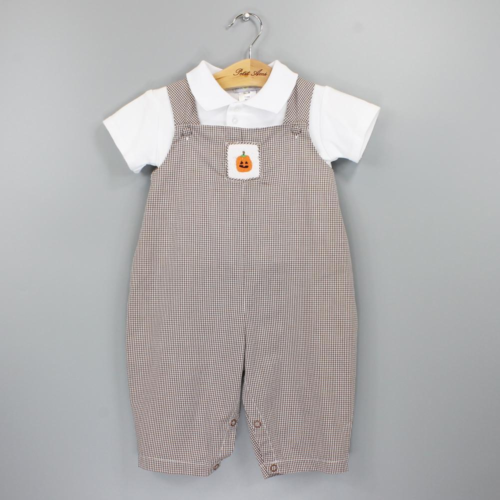 Longall with Pumpkin Smocking & Short Sleeve Polo Shirt - Petit Ami and Zubels baby toys and gifts toddler child