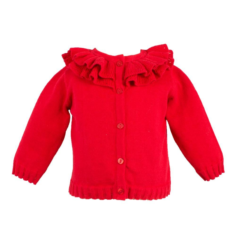 Pointelle Ruffle Collar Cardigan - Petit Ami & Zubels    All Baby!