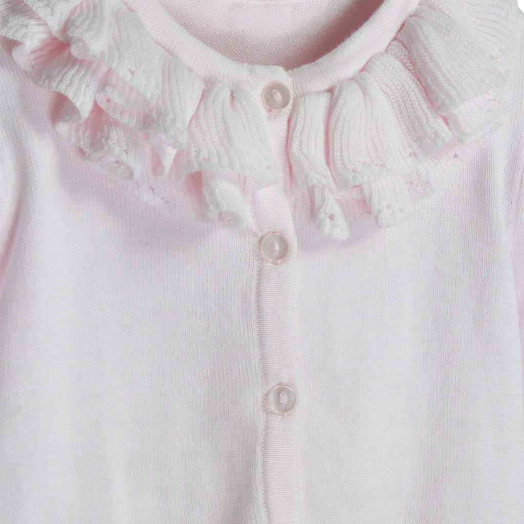Pointelle Ruffle Collar Cardigan - Petit Ami and Zubels baby toys and gifts toddler child