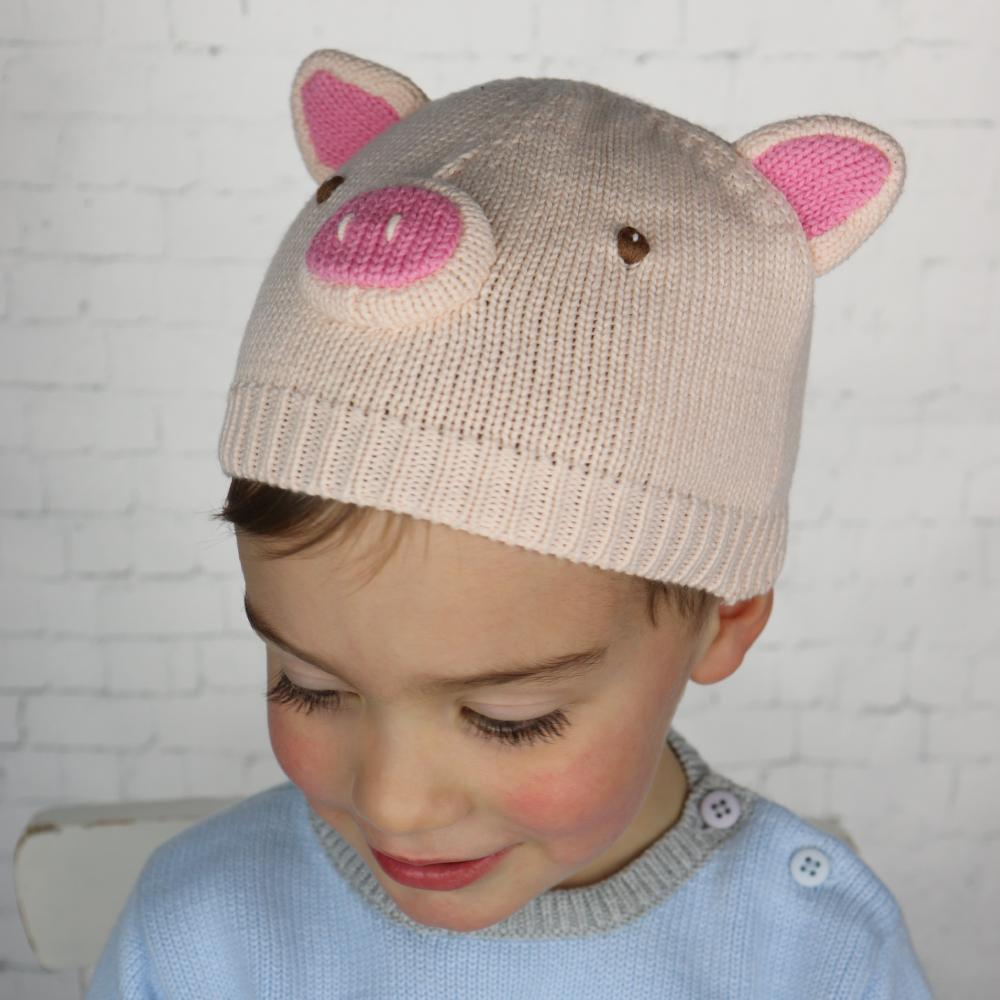 Pig Cotton Knit Hat - Petit Ami and Zubels baby toys and gifts toddler child