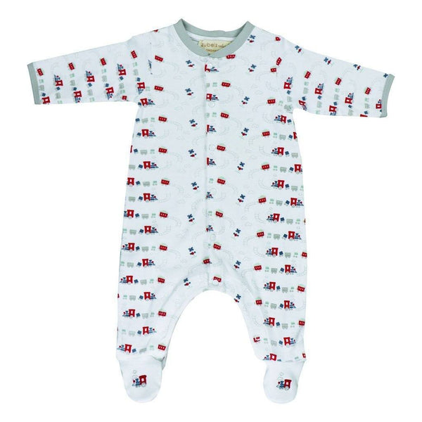 zubels play wear Boys 100% Organic Cotton Footsie  Train Print