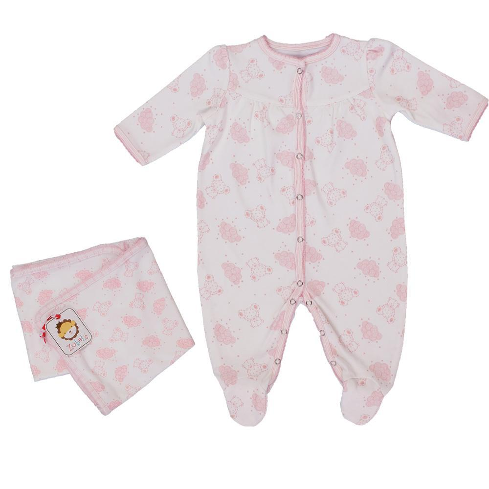 zubels play wear Knit Bear Print Footsie with Matching Blanket in Pink