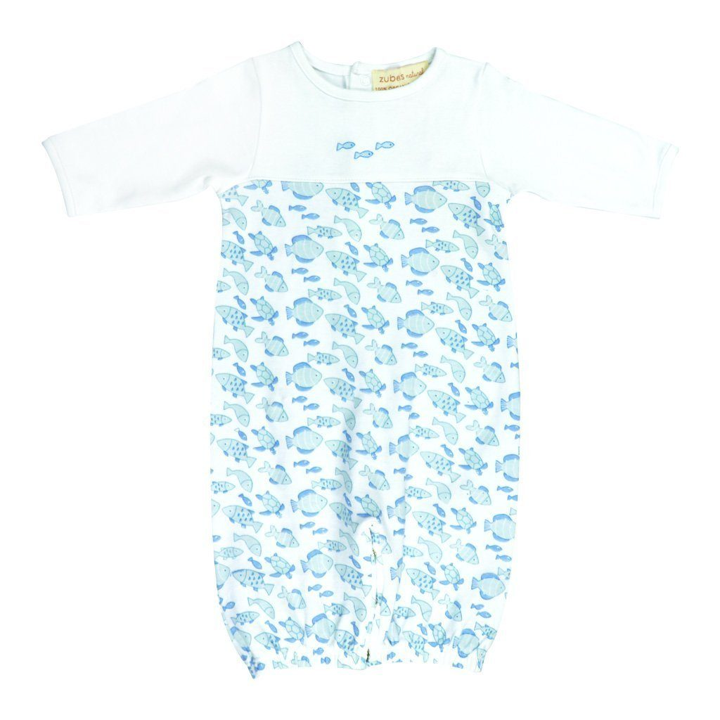 Organic Cotton Fish Print Convertible Bag and Hat play wear zubels