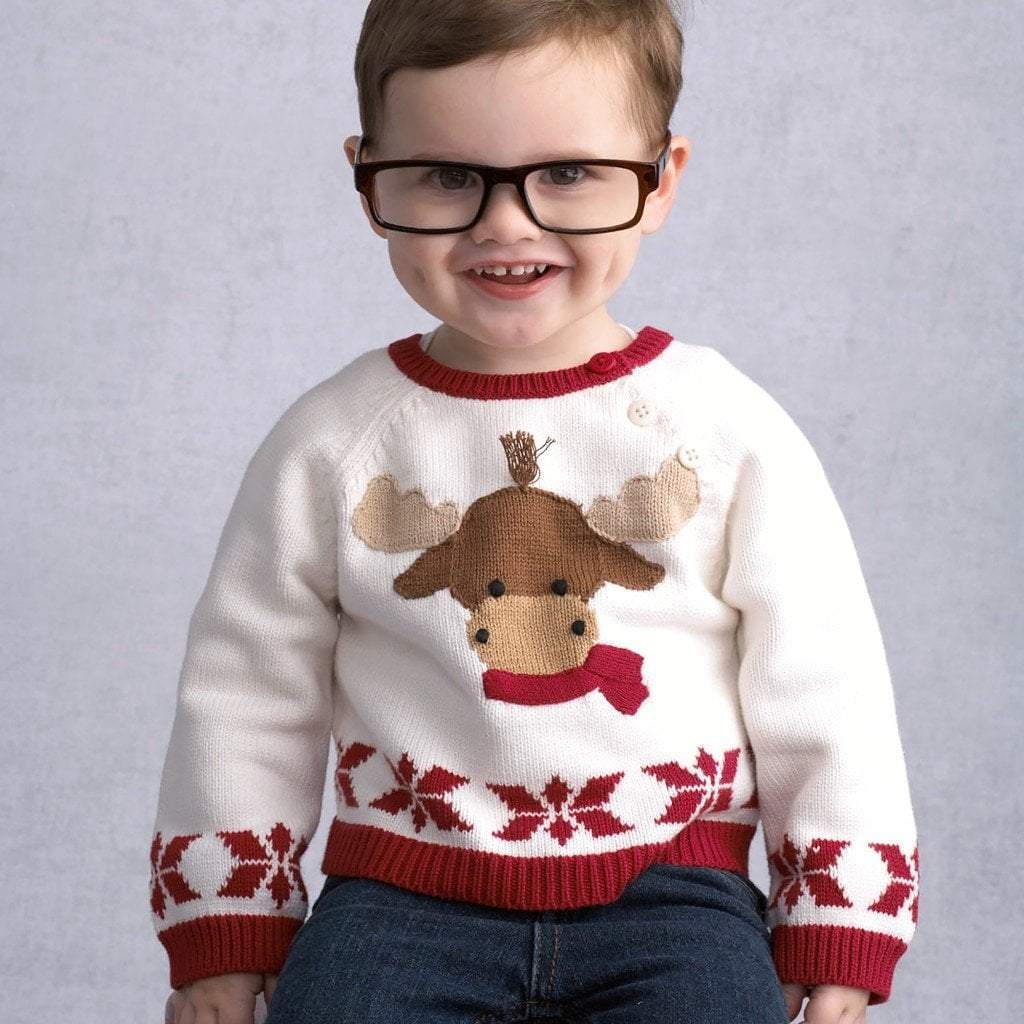 Moose Cotton Knit Sweater - Petit Ami & Zubels    All Baby!