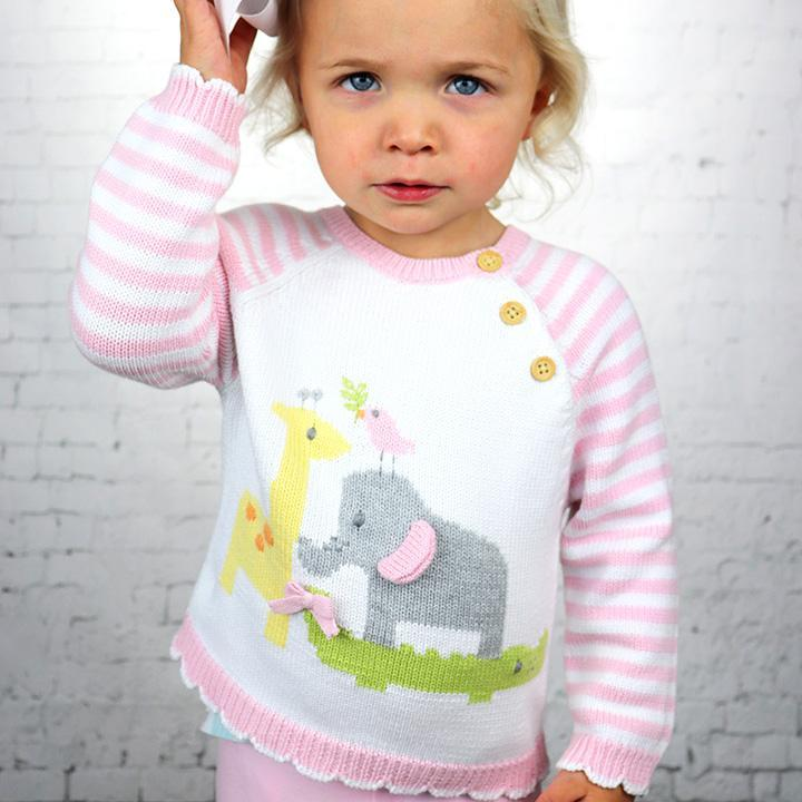 Nursery Cotton Knit Sweater in Pink - Petit Ami & Zubels    All Baby!