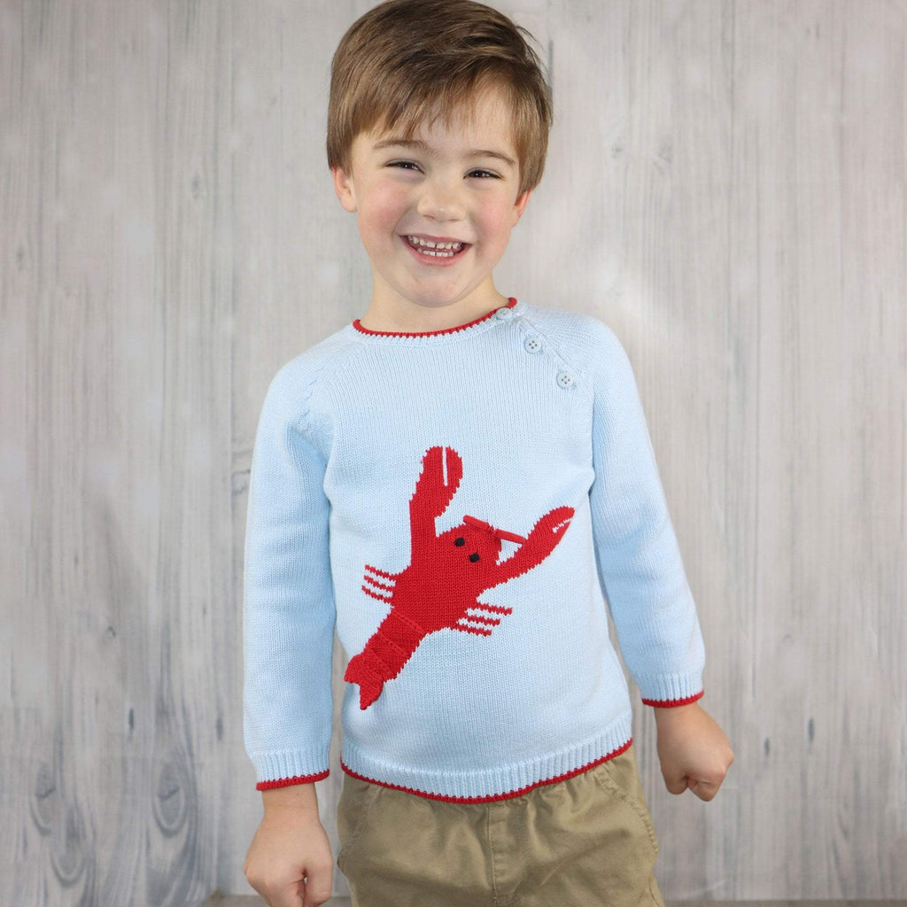 Lobster Cotton Knit Sweater - Petit Ami and Zubels baby toys and gifts toddler child