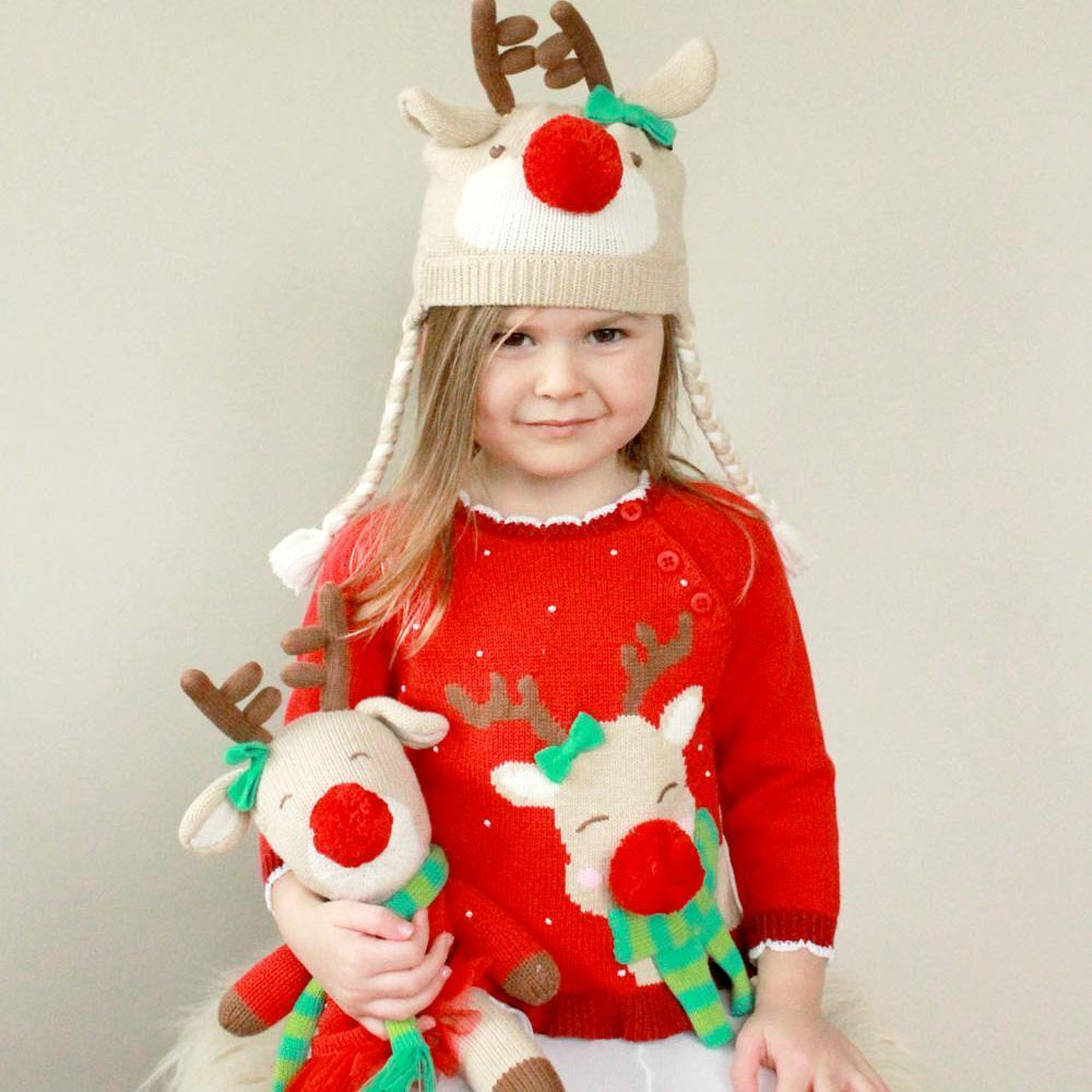 Reindeer Cotton Knit Sweater - Petit Ami and Zubels baby toys and gifts