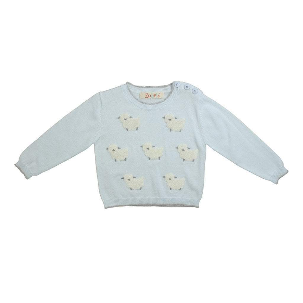Lamb Knit Sweater in Blue - Petit Ami and Zubels baby toys and gifts