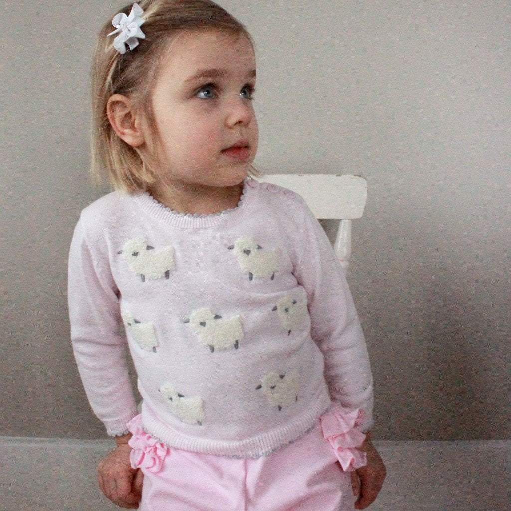 Lamb Cotton Sweater in Pink - Petit Ami & Zubels    All Baby!