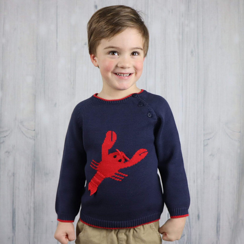 Lobster Cotton Knit Sweater - Petit Ami & Zubels    All Baby!