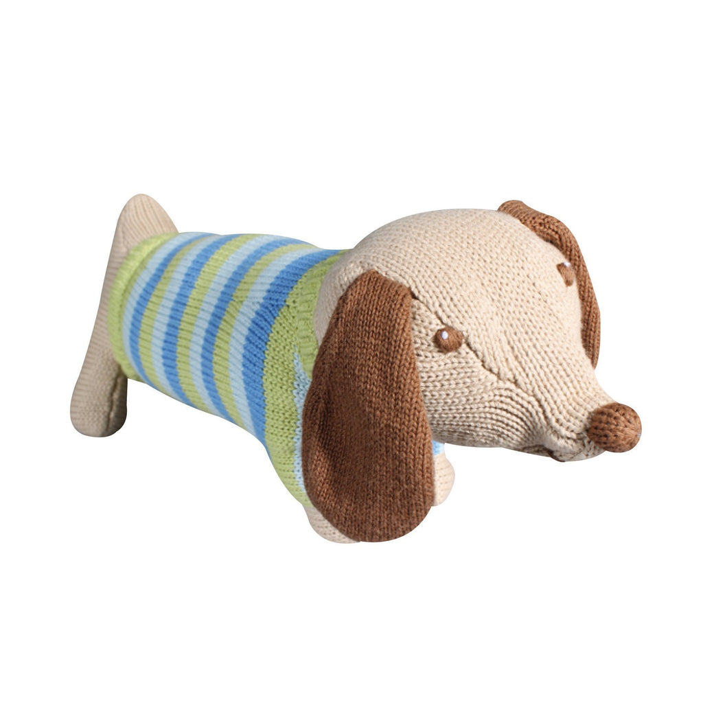 "zubels toy 7"" rattle Scout The Dachshund  knit"