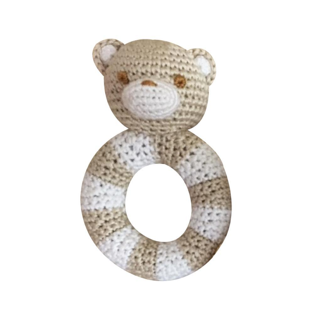 Bear Bamboo Ring Rattle - Petit Ami and Zubels baby toys and gifts