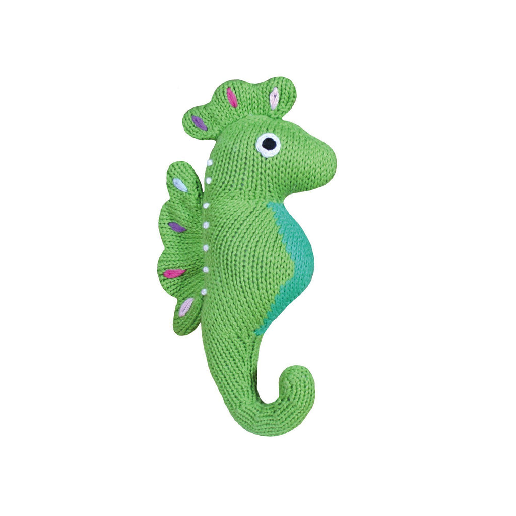 Susie the Seahorse Knit Rattle toy zubels