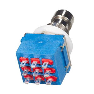 3PDT Latching Foot Switch, Solder Lugs, Blue