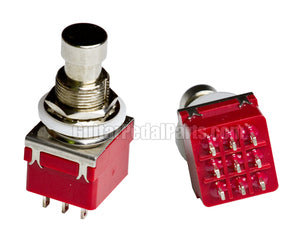 3PDT Foot Switch, Solder Lugs (Red)