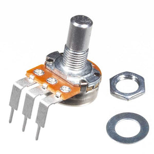 A500K 16mm Potentiometer, Round Shaft, Right Angle PCB Pins