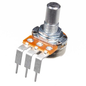 B5K 16mm Potentiometer, Round Shaft, Right Angle PCB Pins