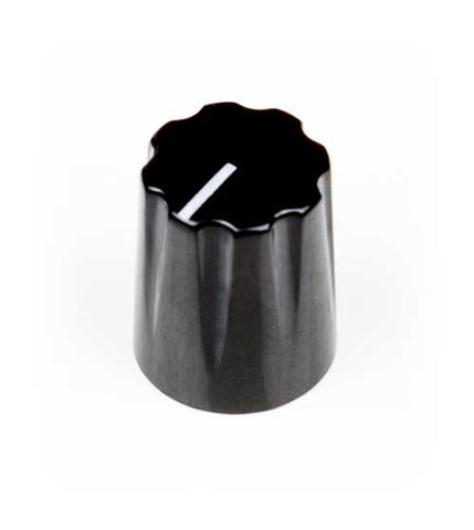 Small Pointer Knob, Black, Knurled Shaft