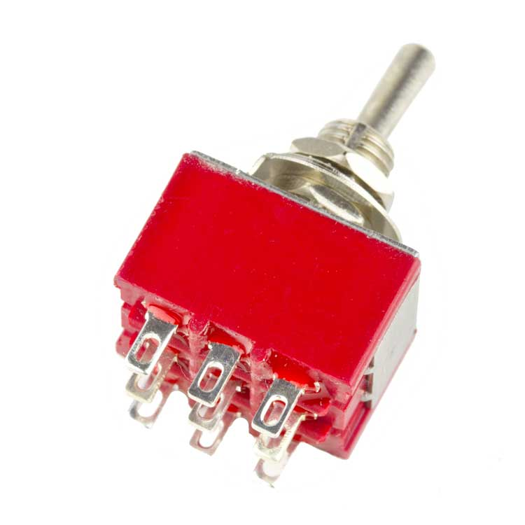 3PDT ON-ON Toggle Switch, Solder Lugs