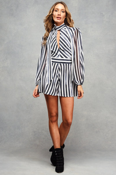 Billie Playsuit Charcoal Stripe