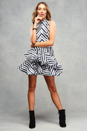 Moscow Mini Frill Charcoal Stripe